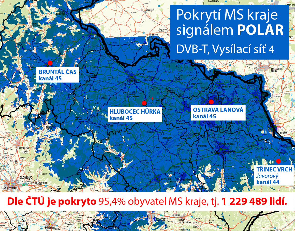 cb19eb19c Pokrytí Moravskoslezského kraje signálem POLAR, DVB-T, Vysílací síť 4: